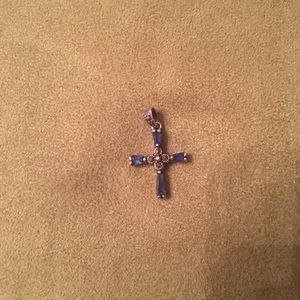 Jewelry - Silver and blue cross pendant